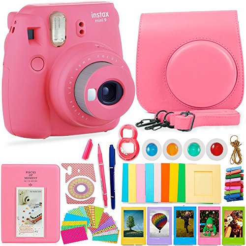 FujiFilm Instax Mini 9 Camera + Protective Case/ Hanging Frames/ 4 Filters/ Selfie Lens/ Photo Album/ Stickers and More - Portable & Perfect Gift (Flamingo Pink)