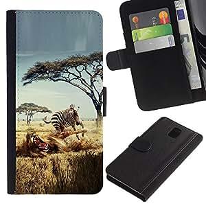 """Be-Star la tarjeta de Cr¨¦dito Slots PU Funda de cuero Monedero caso cubierta de piel Para Samsung Galaxy Note 3 III ( Safari Zebra le¨®n ?frica Wild Animal ?rboles"""" )"""