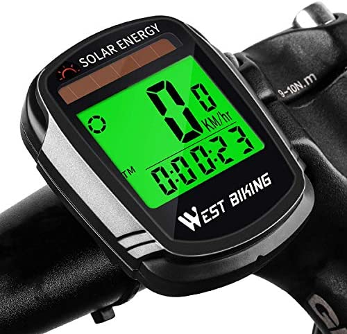 ROOCHL Bike ComputerSolar Energy Bicycle Speedometer and Odometer Wireless Waterproof Cycling Computer LCD Backlight Automatic Wake-up & Multi-Functions
