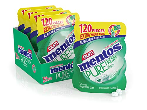Mentos Pure Fresh Sugar-Free Chewing Gum with Xylitol, Spearmint, 120 Piece Bulk Resealable Bag (Pack of 4), 120 Count (Pack of 4)