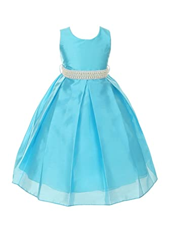 24f1009d1f Image Unavailable. Image not available for. Color  My Best Kids Elegant  Pastel Color Shantung Silk Girls Dress-Turquoise-4