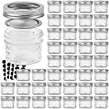VERONES Mason Jars Canning Jars, 4 OZ Jelly Jars With Regular Lids, Ideal for Jam, Honey, Wedding Favors, Shower Favors, Baby Foods, DIY Magnetic Spice Jars, 40 PACK