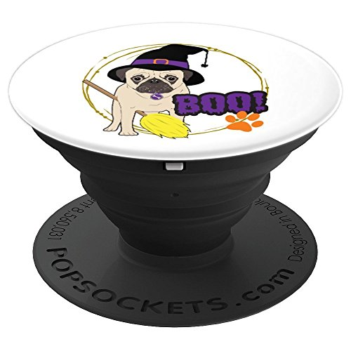 Witch Hat Pug Dog Halloween Costume Pet Owner Gift - PopSockets Grip and Stand for Phones and Tablets ()
