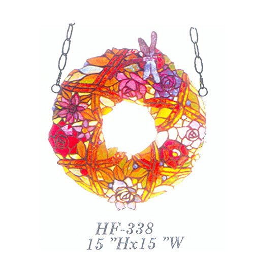 HF-338 15'' Pastoral Vintage Annuls Colourful Flowers With Butterfly Tiffany Style Handmade Stained Glass Window Hanging Glass Panel Suncatcher by Gweat Window Hanging