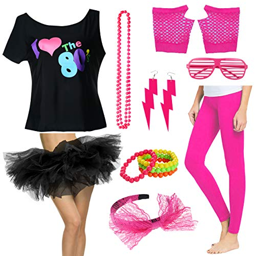 Plus Size 1980s Women I Love The 80's T-Shirt with Tutu Skirt Costume Set (2X/3X, ()