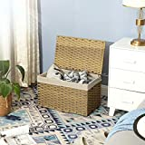 SONGMICS Rattan-Style Storage Box, 17 Gallon Indoor Storage Basket, 65L Laundry Hamper, Toy Chest, Decorative Bin with Lid Liner Handles, Rectangular, Bedroom Closet Laundry Room, Natural URST56NL