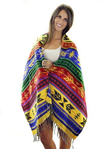 Women's Southwest & Native American Style Shoulder Wrap Fringed Pashmina Shawl (Aztec)