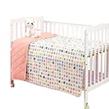 EsTong Baby Pure Cotton Knit Soft Reversible Cartoon Printing Crib Quilt Blanket For Toddler Pink Butterfly