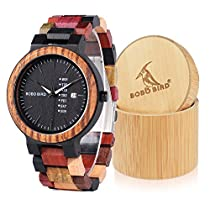 BOBO BIRD CP14-1 Mens Colorful Wooden Watch New Fashion Wood Strap with Week & Date Display Quartz Watches Best Gift