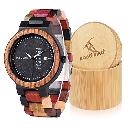 BOBO BIRD Natural Wood Watch Colorful Mens Wooden Watches Week & Date Display Japanese Quartz Movement Chronograph Unique Wristwatch for Men ()