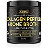 Collagen Peptides & Bone Broth by Warrior Strong Wellness: Pure Grass-Fed Hydrolyzed Collagen Powder Boost for Healthy Skin, Nails, Hair, Joints & Muscles, No Gluten, Non-GMO Unflavored 16oz