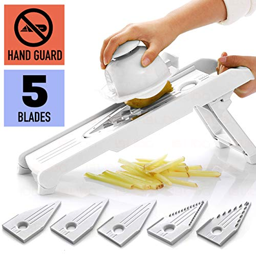 Mandoline Slicer w/ 5 Blades - Vegetable Slicer - Food Slicer - Vegetable Cutter - Cheese Slicer - Vegetable Julienne Slicer with 5 Surgical Grade Stainless Steel Blades (White) ()