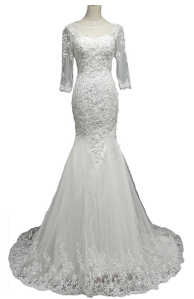 Snowskite Womens Elegant High Neck Lace Long Sleeves Mermaid Wedding Bridal Dress JKZM14015-1