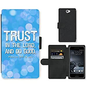 PU Cuir Flip Etui Portefeuille Coque Case Cover véritable Leather Housse Couvrir Couverture Fermeture Magnetique Silicone Support Carte Slots Protection Shell // V00000358 Biblia: La confianza en el Señor // HTC One A9 (Not Fit M9)