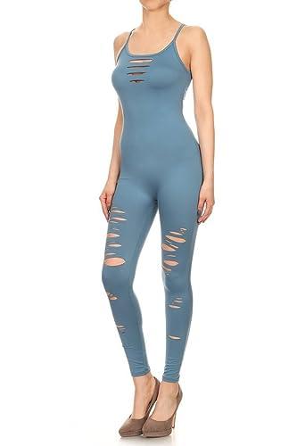 12300bbae5f5 Amazon.com  Leggings Depot Premium Quality Jersey Tank Unitard Jumpsuit  Romper Gym  Clothing