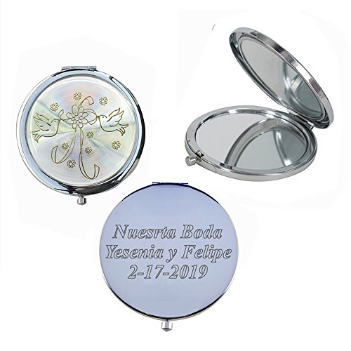 Wedding Favors (12 PCS) Personalized Custom Laser Engraving Bridal Shower, Engagement Favors, Compact Mirror (Silver)]()