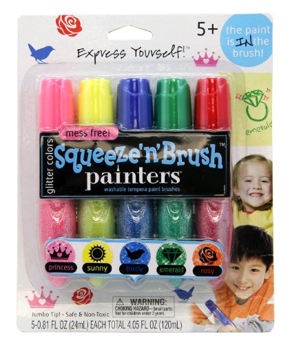 Painters Squeeze 'N Brush Washable Tempera Paint Brushes, Glitter Colors, Set of 5 Brushes (E113)