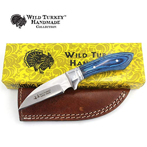 Wild Turkey Handmade Collection 7.25″ Fixed Blade Hunting Knife w/Leather Sheath