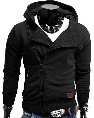 S!RPREME Herren Kapuzenpullover Hoodie Kapuze Sweatshirt Zip Sweatjacke Pullover Schwarz S