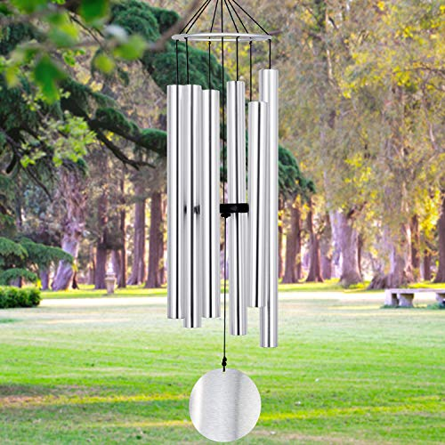 Wind Chimes Outdoor Large Deep Tone, 45 Inch Amazing Grace Wind-Chimes Memorial with 6 Metal Tuned Tubes, Elegant Chime Soothing Rich Tone for Mom, Decent Gift for Housewarming and Christmas (Silver)