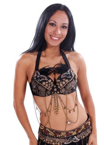 Tribal Bra - Belly Dance Tribal Bra with Feathers | Le Masque - Medium