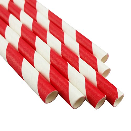 Red Stripe Paper Straws (MY PAPER Biodegradable Paper Straws 7.75 Inch Decorative Striped Paper Straws 25 PACK (Red))