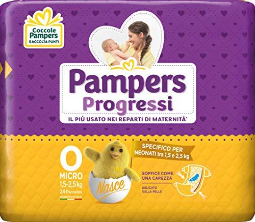 Pampers Progressi Pannolini Micro, Taglia 0 (1-2.5 kg), 24 Pezzi 1