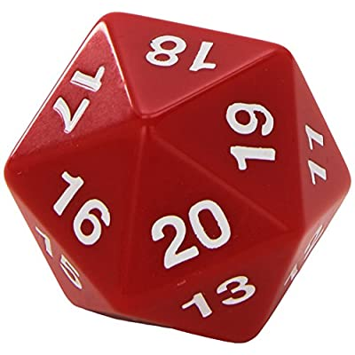 Koplow Games Red Jumbo Dice D20 Count Down 55mm Dice: Toys & Games