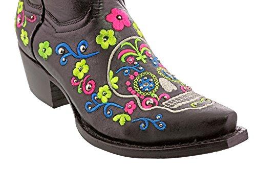 Cowboy Professionele Dames Zwarte Catrina Punk Schedel Western Lederen Cowboylaarzen Knipteen Zwart