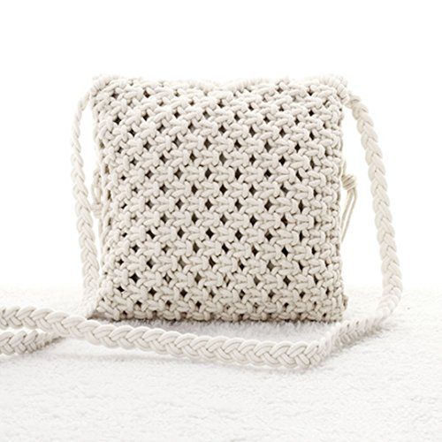 Girls Crochet Body Tassel Hollow Bag Bag Mily Beach Woven Fringed Out Fashion Cross Shoulder White Bohemian Women Bag qcEpI