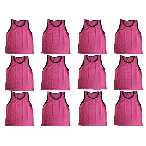 (BlueDot Trading Youth Sports Pinnie Scrimmage Training Vest, Pink, 12 Pack)
