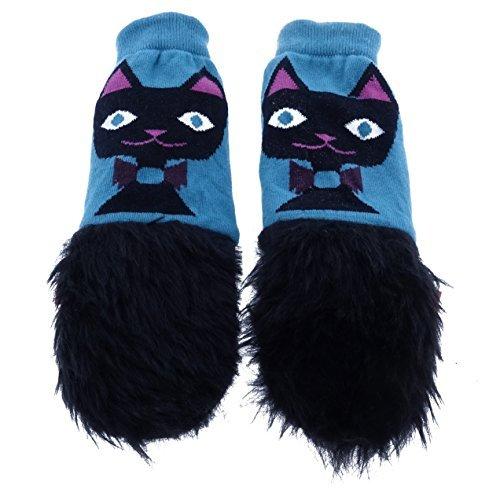 mimiTENS Fuzzy Long Sleeve Warm Winter Mittens (Black Cat) by mimiTENS by mimiTENS