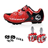 Men Women Mountain Bike Cycling Shoes And Pedals (black-red + Red,us9/eu42/ft26.5cm) | amazon.com