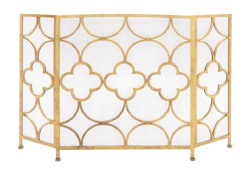 Benzara Space Efficient 3-Panel Metal Fireplace Screen, Gold by Benzara