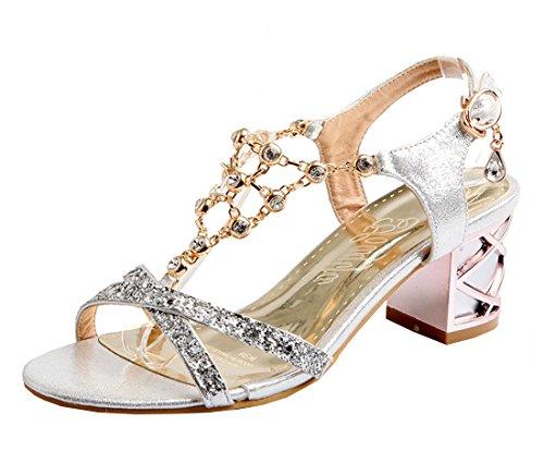 YE Damen T Spangen Glitzer Sandalen Blockabsatz Riemchen Offene High Heels mit Strass und 6cm Bequem Schuhe Silver