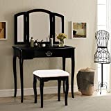 Harper & Bright Designs Vanity Set Make-up Dressing Table with Mirror and Cushioned Stool (black)