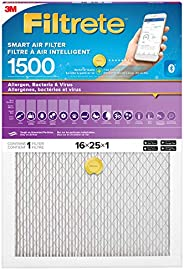 Filtrete 16x25x1 Smart Filter MPR 1500, Allergen, Bacteria & Virus Pleated AC Furnace Air Filter, 1-