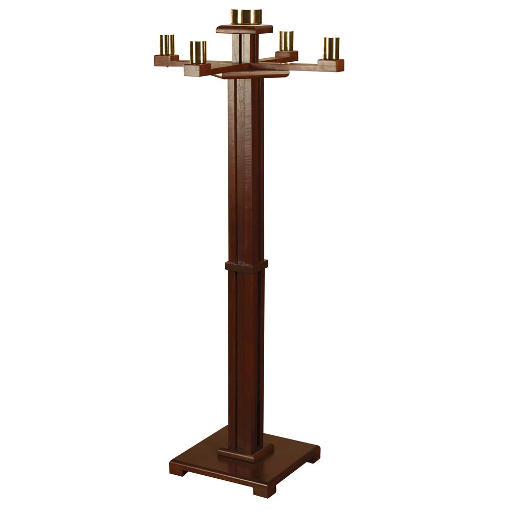 Maple Hardwood Church Sized Standing Advent Candlestick Holder in Walnut Stain