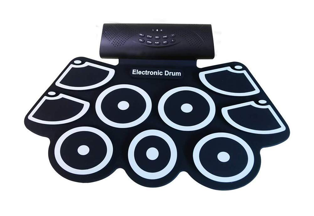 Electronic drum Set, 9 Pad Portable Roll Up Drum Pad Kits Foldable Musical Practice Instrument- Built-in Lithium Battery, Drum Stick and Pedal by Electronic drum