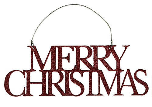 Christmas Merry Tin - Primitives by Kathy Red Glitter Tin Word Ornament - Merry Christmas