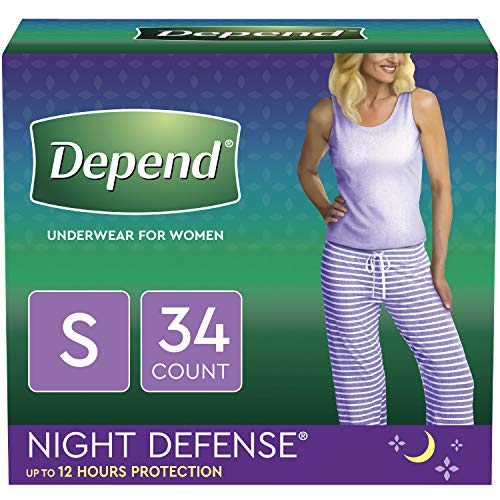 Depend Night Defense Incontinence Underwear for Women, Disposable, Overnight, S, Blush, 34 Count (Best Place To Sell Used Cloth Diapers)