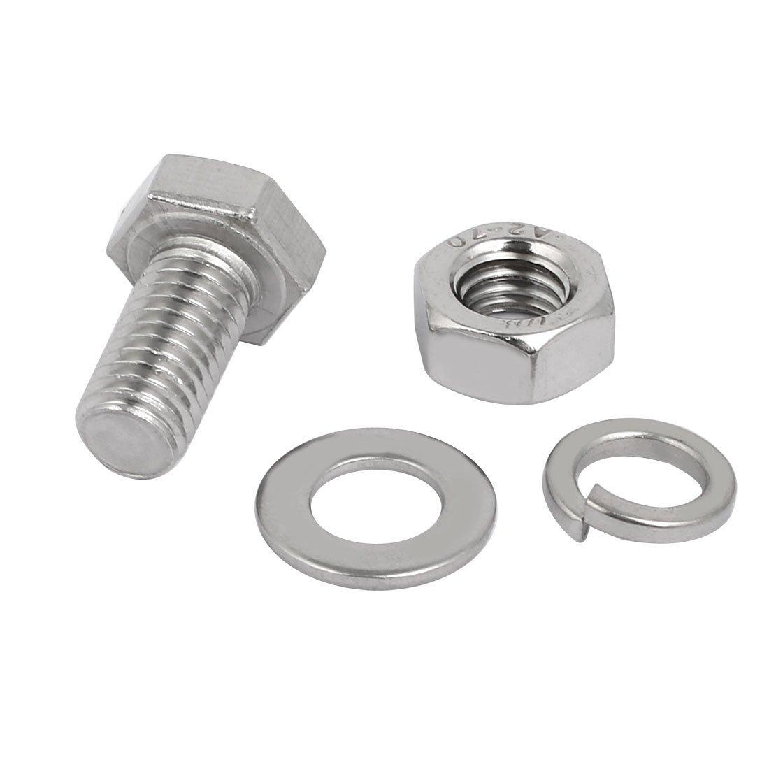 20 Set M8x20mm vis T/ête Hex acier Inox 304 Kit Assortiment /Écrou rondelle