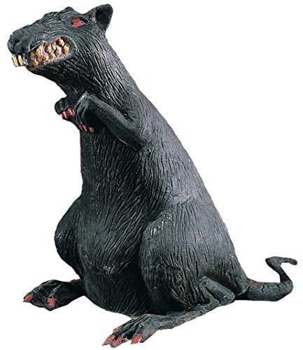 Rubies Rubber Standing Rat With Red Eyes Decoration Prop, Black - 18