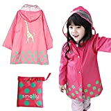 KUYOU Kid Rain Coat,Cartoon Waterproof Children's Raincoat Lightweight for Ages 3-12 Years Old Girls and Boys 4 Size,(Pink -S)