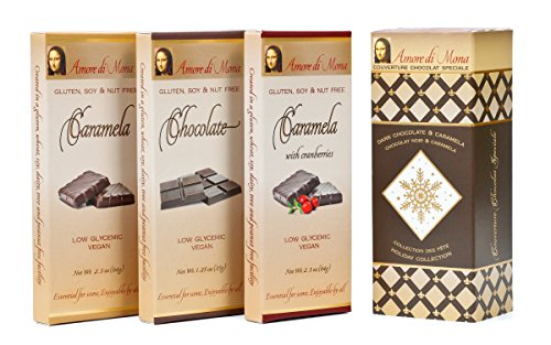 Amore di Mona Luxury Dark Chocolate & Caramela Gift Box: Vegan, Free of Gluten, Peanuts, Tree Nuts, Milk & Soy. GMO-Free (Holiday Collection: Caramela/Dark Chocolate/Caramela w cranberries)