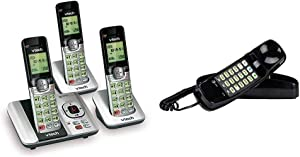 VTech CS6529-3 3-Handset Expandable Cordless Phone with Answering System-Caller ID/Call Waiting & AT&T 210 Basic Trimline Corded Phone, No AC Power Required, Wall-Mountable, Black