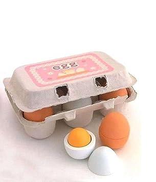 Natureich Eier 6er Pack Küchenspielzeug Holz Küchenzubehör Zum Kochen  Lernen   Für Kinderküche Kinder Ab 3