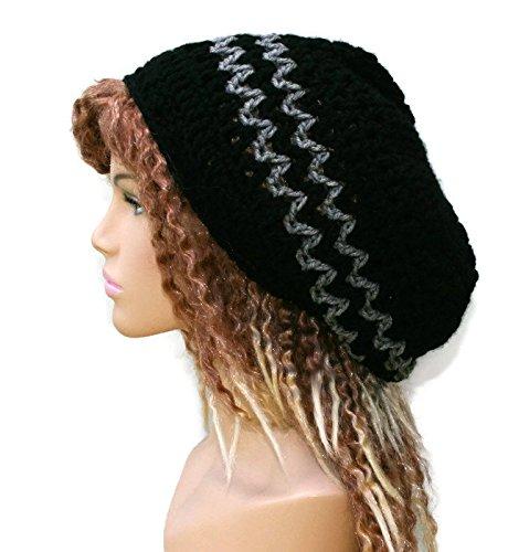 Handmade Black gray slouchy beanie, small dread tam hat, hippie slouchy hat, slouch beanie, smaller dreadlocks hat