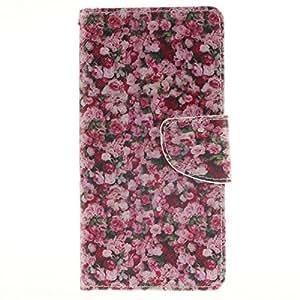 Xperia M5 funda , Sony Xperia M5 funda , Lifetrut® [ Flor ] [Función Monedero] [Soporte Reportaje] magnética del Monedero Snap Case premium incorporado ranuras para tarjetas caso del tirón funda para Sony Xperia M5