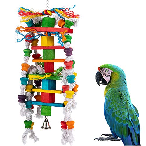 MEWTOGO Bird Parrot Chewing Toys- Multicolored Natural Wooden Knots Blocks Waterfall Bird Tearing Entertaining Toys Suggested for Conures Cockatiels African Grey Foraging and Amazon Parrot